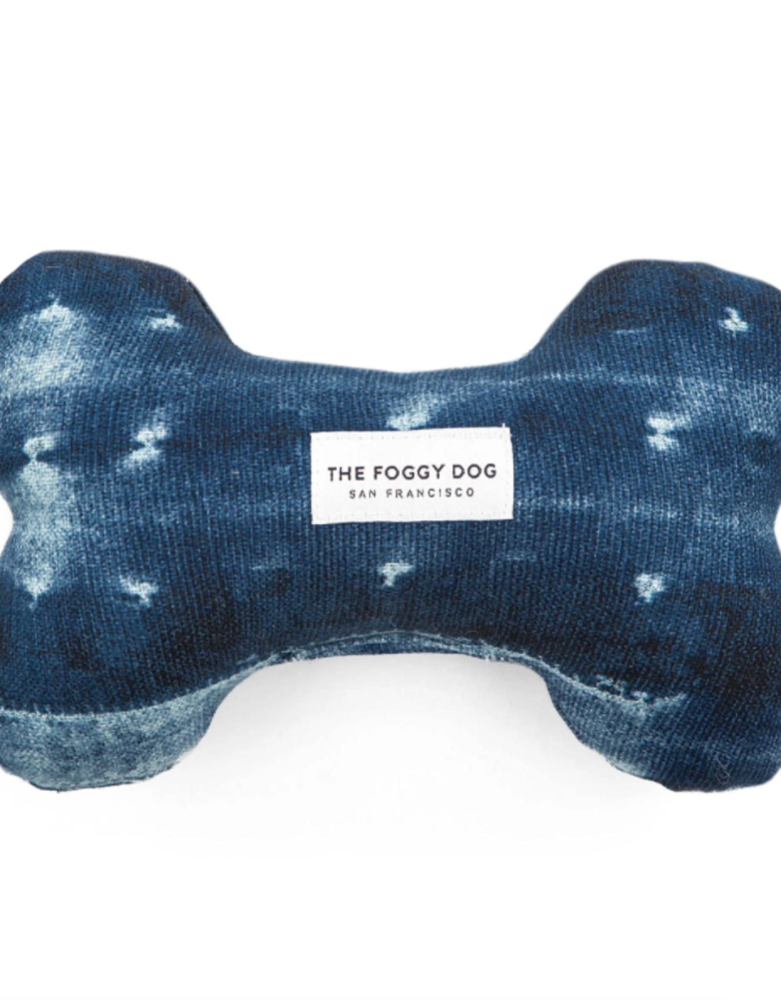 Indigo Mud Cloth Dog Bone Squeaky Toy