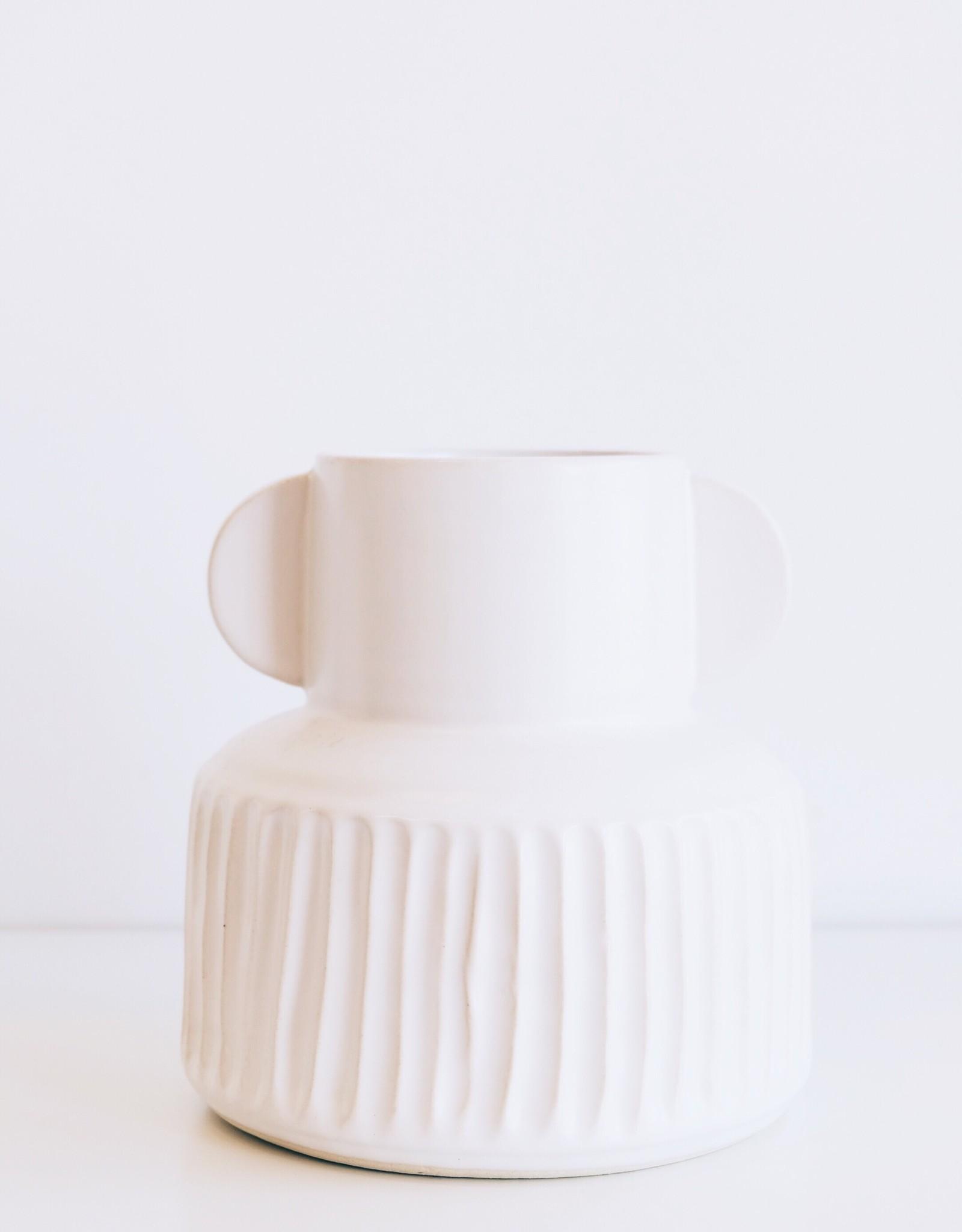 White Stoneware Pleated Vase