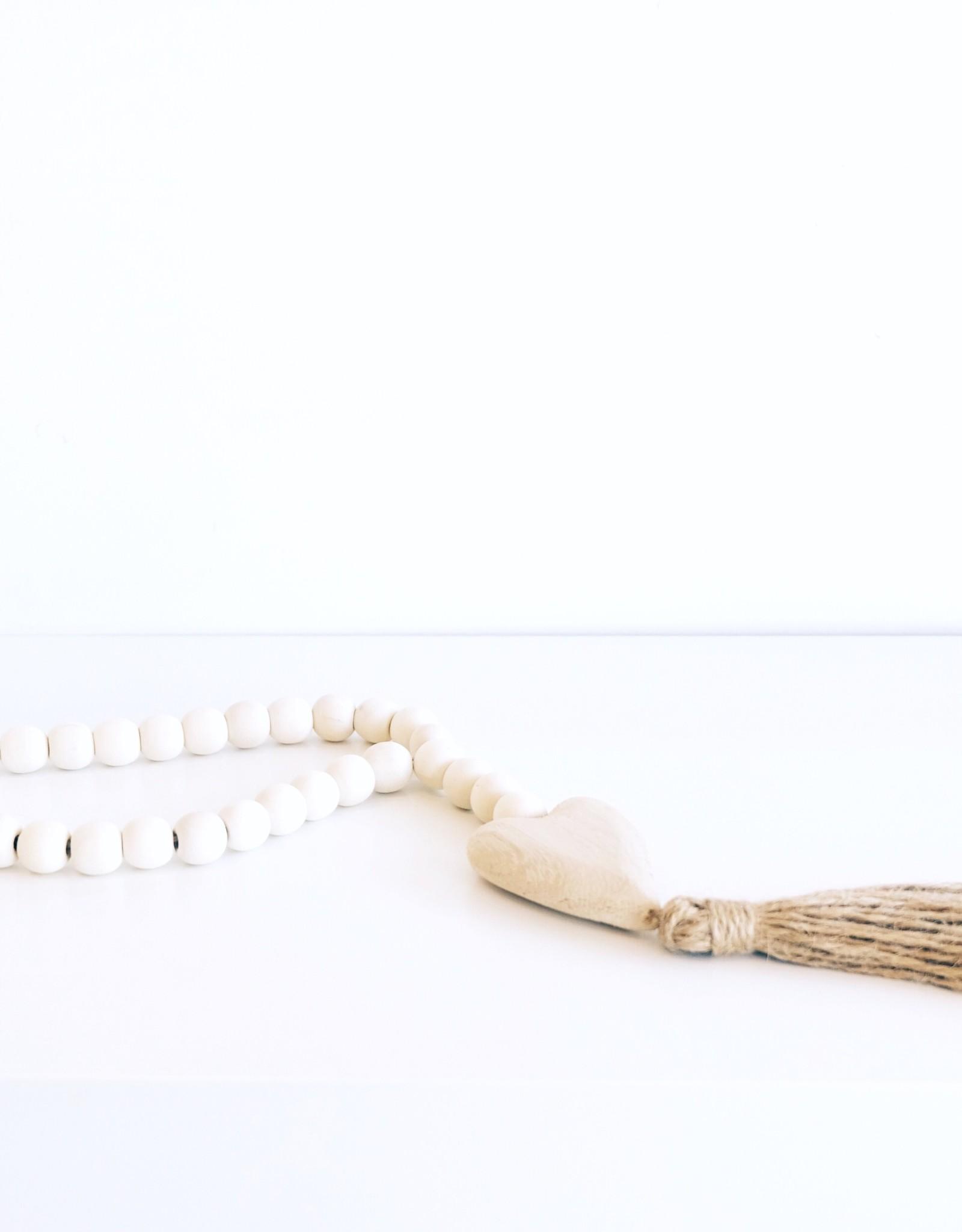 Paulownia Wood Beads with Heart Pendant