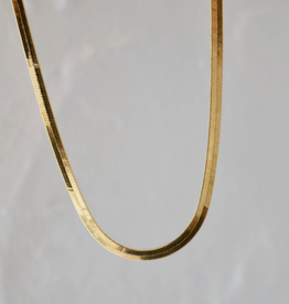 Herringbone Gold Plated Chain Necklace