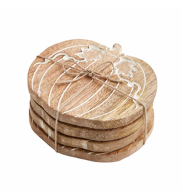 Wood Pumpkin Coaster Set
