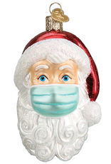 Santa With Face Mask Ornament