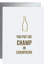 Champ in Champagne Bottle Paper Clip Letterpress Card
