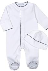 White Pima Footie + Beanie - Navy Blue Trimming - 0-3 months