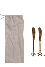 Snowflake Brass Canape Knives - Set of 4