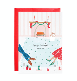 Join Us by the Fire Holiday Greeting Card