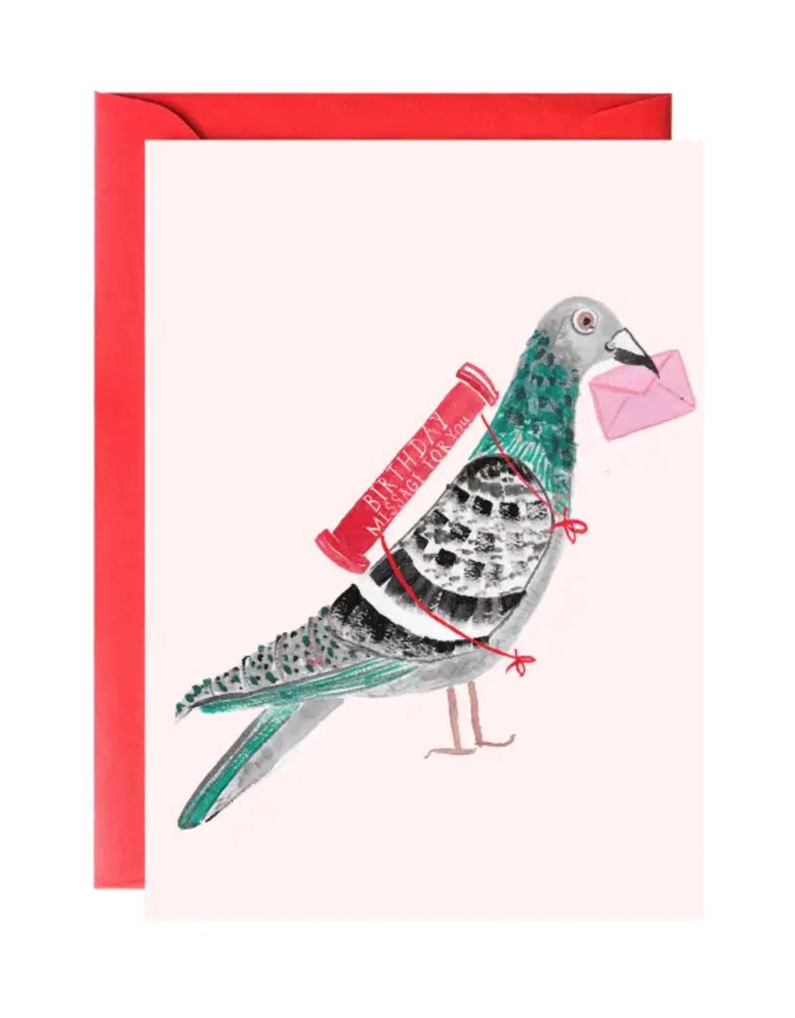 Pigeon with a Message Birthday Greeting Card
