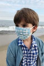 Blue Elephants Kids Block Print Face Mask - Set of 2