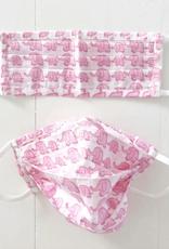 Pink Elephants Kids Block Print Face Mask - Set of 2
