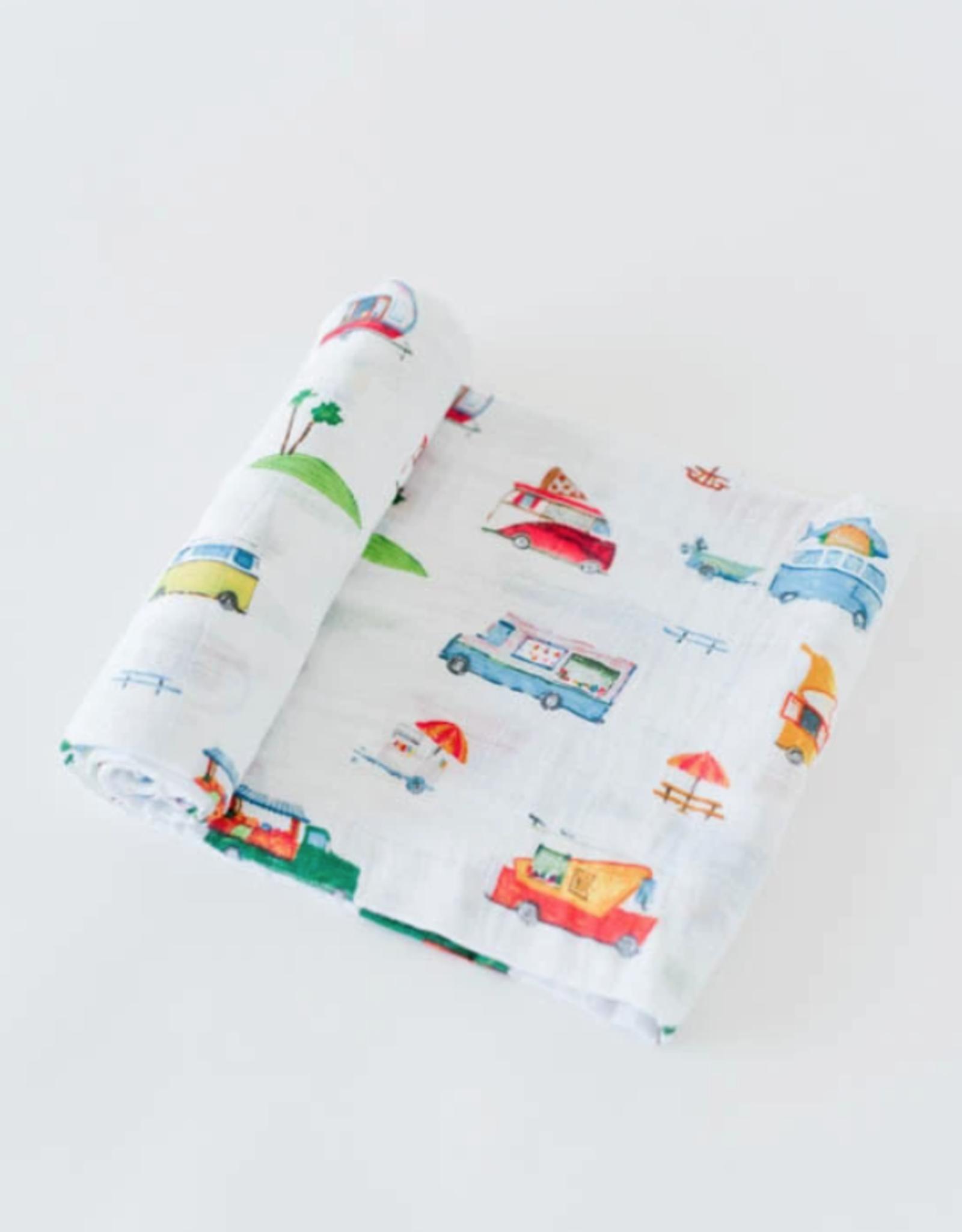 Cotton Muslin Swaddle Blanket - Food Truck