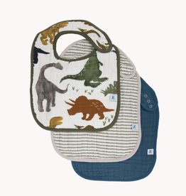 Cotton Muslin Classic Bib 3 Pack - Dino Friends 2 Set