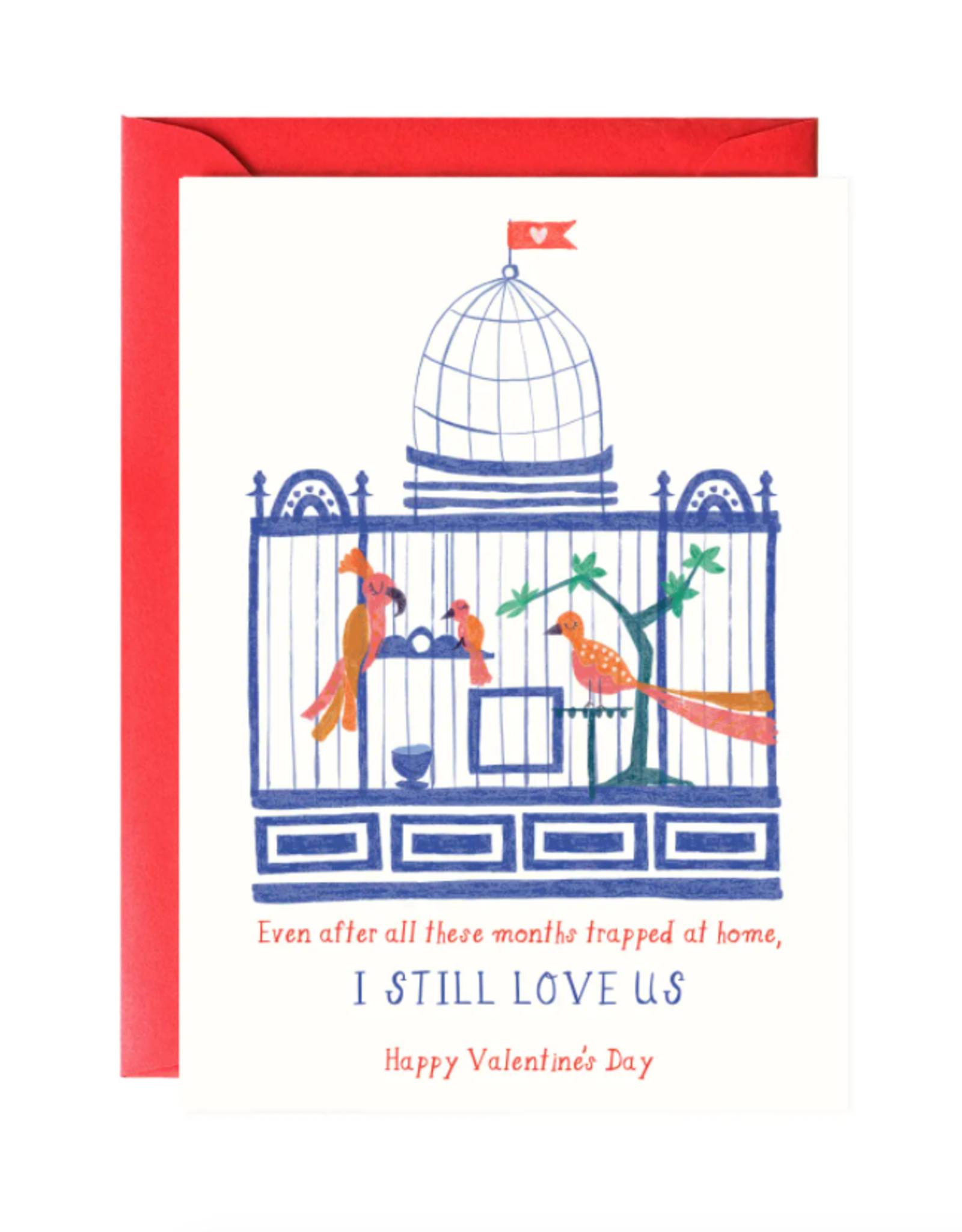 Caged Love Birds Valentine's Day Card