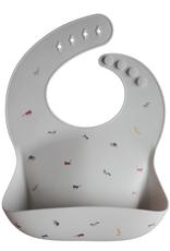 Silicone Baby Bib - Safari Light Grey