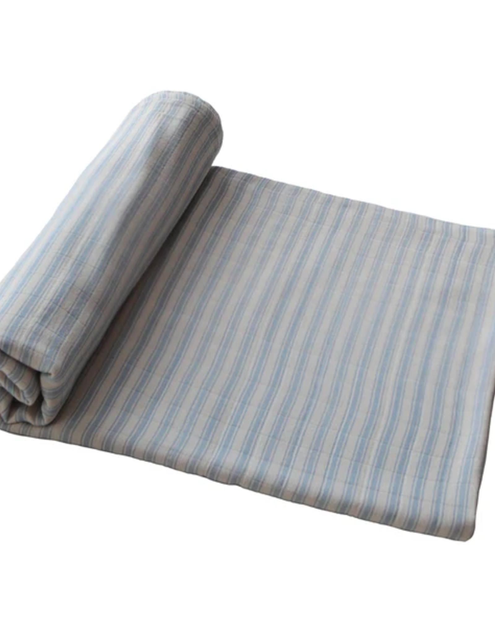 Blue Stripe Organic Cotton  Muslin Swaddle