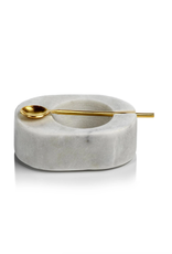 Tuscan Marble Salt & Pepper Bowl with Gold Spoon