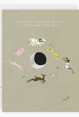 Over The Moon Baby Card