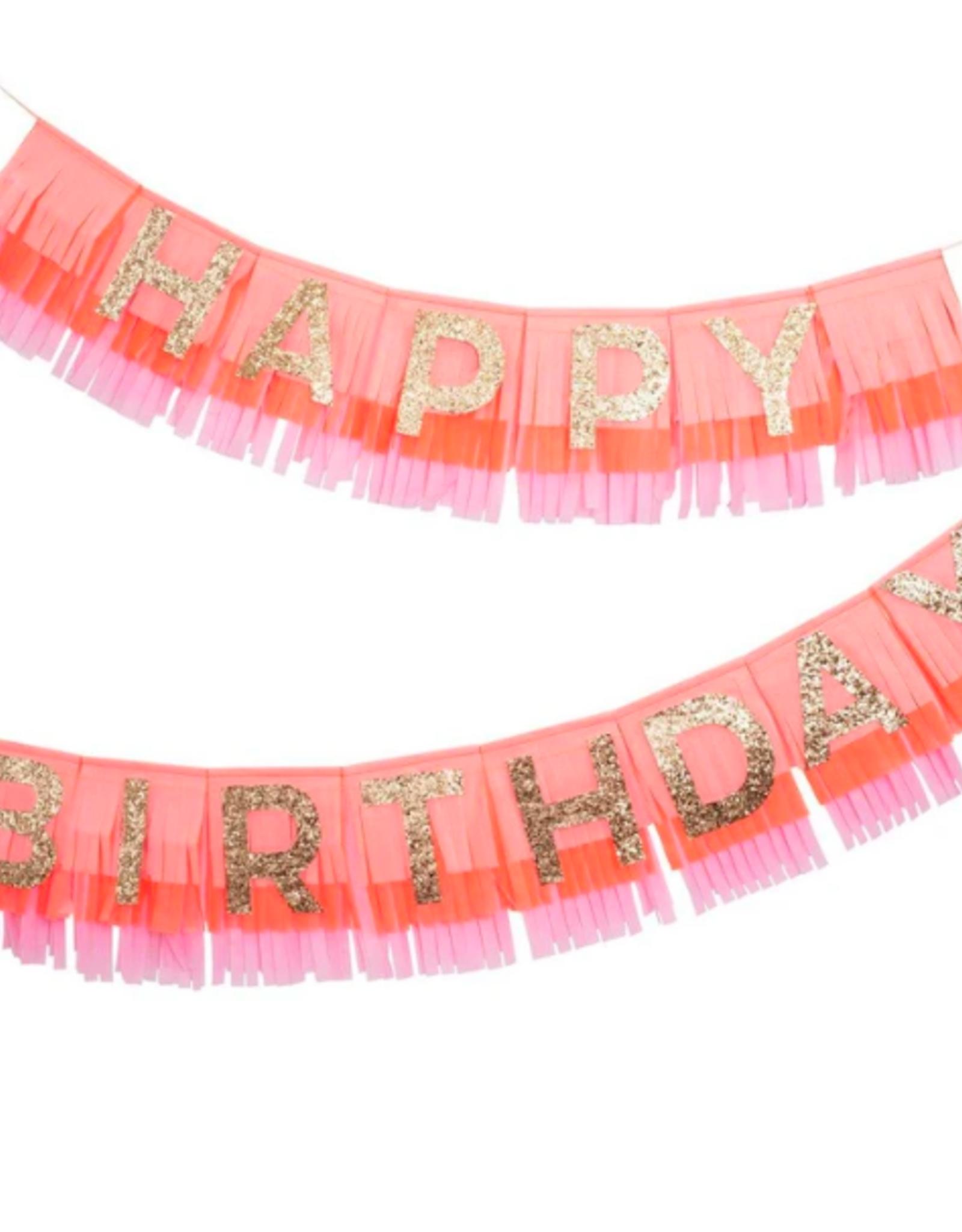 Pink Happy Birthday Fringe Garland