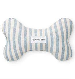 Upcycled Denim Stripe Dog Bone Squeaky Toy