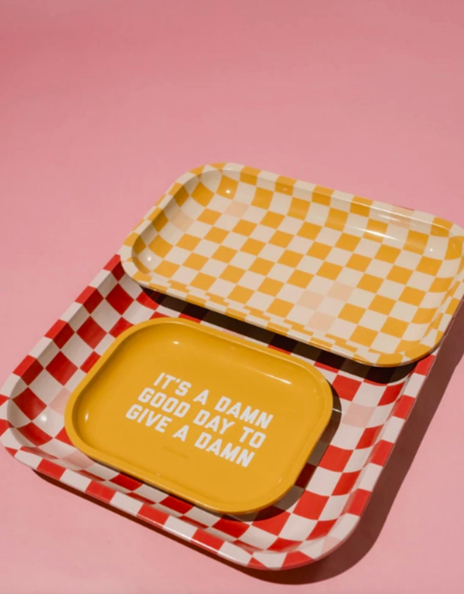 Medium Yellow Checkered Tray