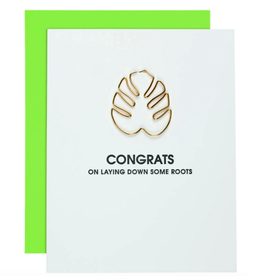 Congrats on Laying Down Some Roots - Monstera Leaf Clip Card