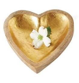 Mango Wood & Gold Leaf Heart Tray