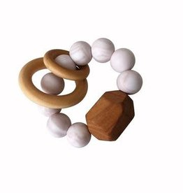 Hayes Silicone + Wood Teether Toy - Rose Quartz