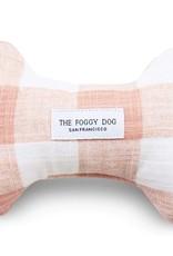 Blush Pink Gingham Dog Bone Squeaky Toy: Blush Pink