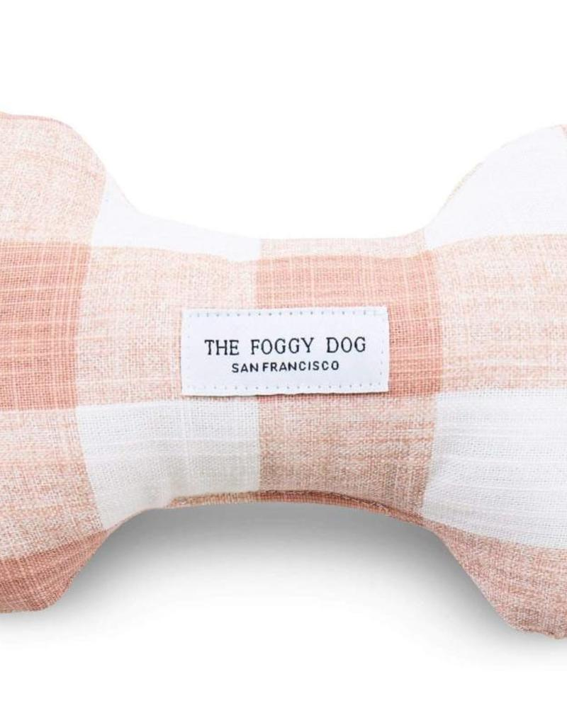 Blush Pink Gingham Dog Bone Squeaky Toy