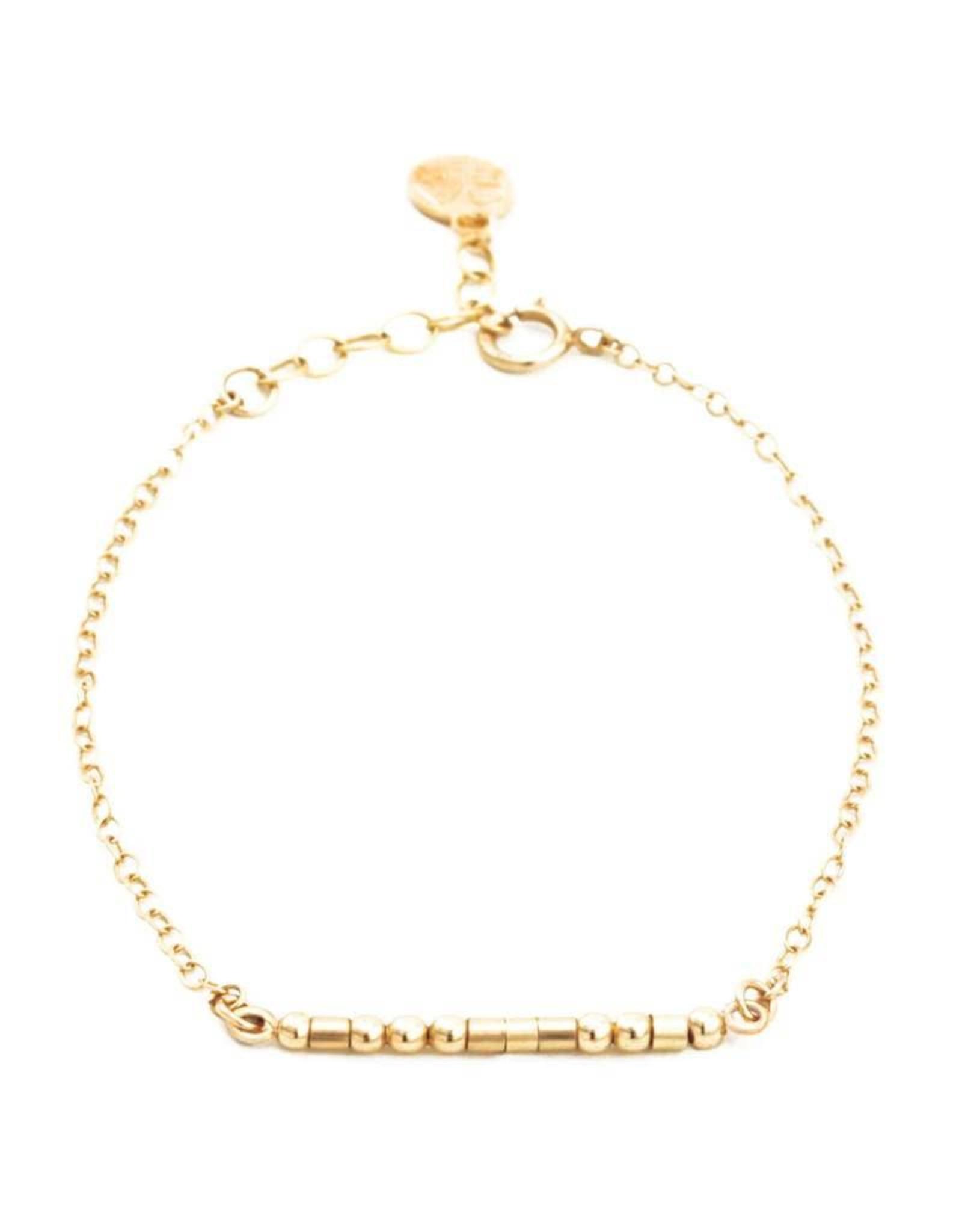 I Love You Morse Code Bracelet - Gold Filled