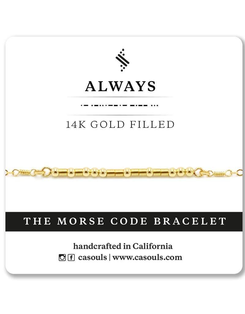 Always Morse Code Bracelet - Gold Filled