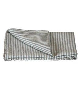 Linen Kitchen Towel - Grey White Stripes