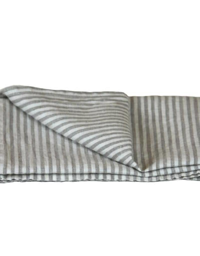 Linen Kitchen Towel - Stonewashed - Grey White Stripes
