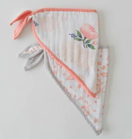 Cotton Muslin Bandana Bib 2 pack - Watercolor Rose Set