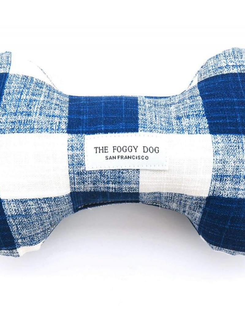 Navy Blue Gingham Dog Bone Squeaky Toy