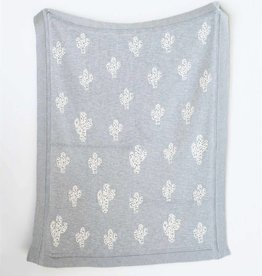 Cactus Cotton Knit Throw - Grey