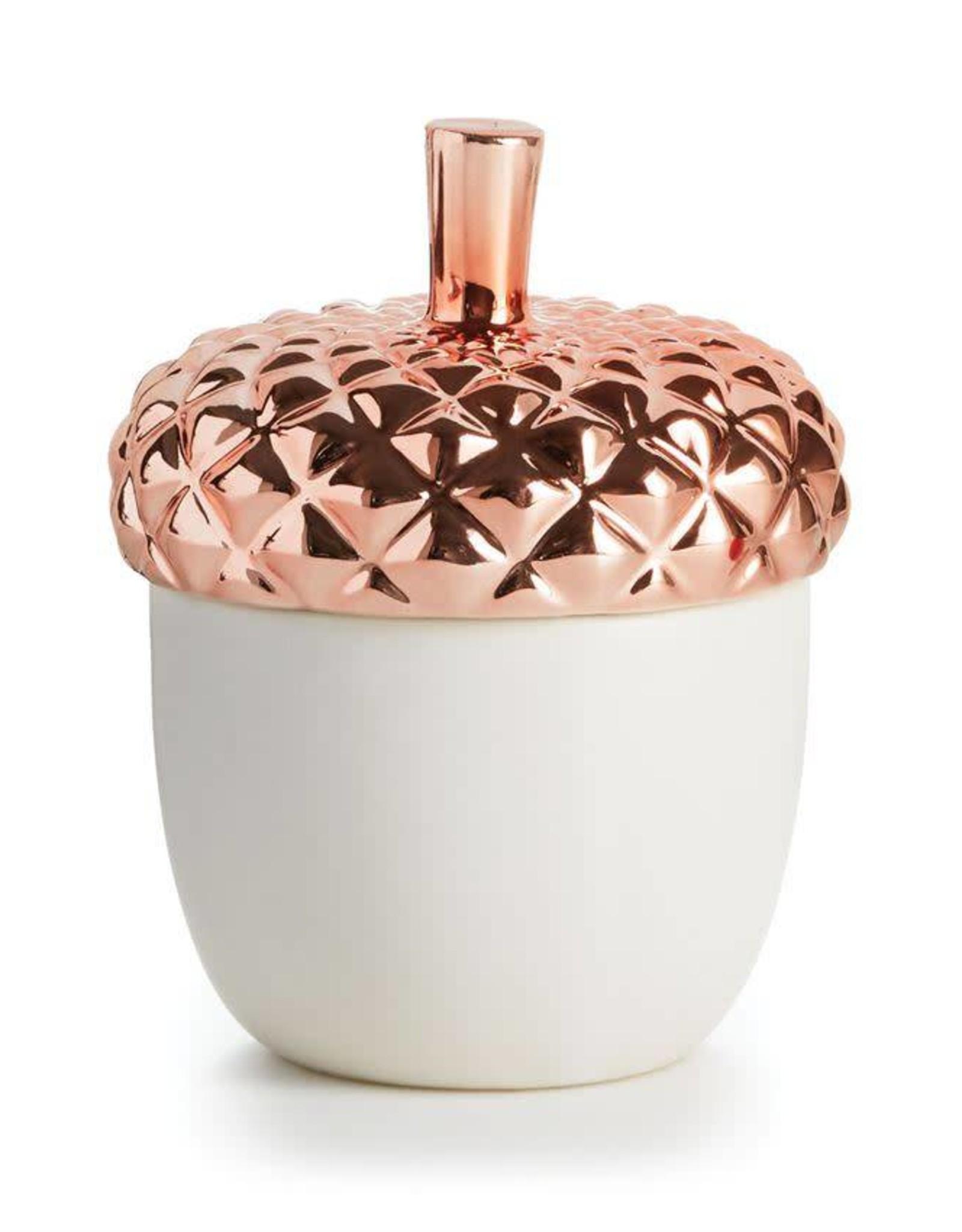 Copper Leaves Acorn Ceramic Candle