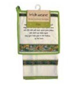 Royal Tara Blessing Tea towel + Pot Holder:  Irish Weave