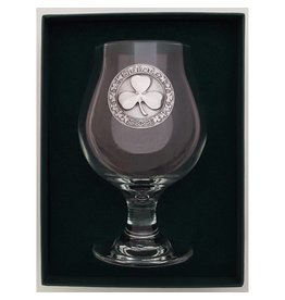 Robert Emmet Company Belgian Craft Beer Glass: Pewter Shamrock