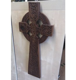 Blue Frogs Mahogany Wood Carving:  Wall Cross 22""