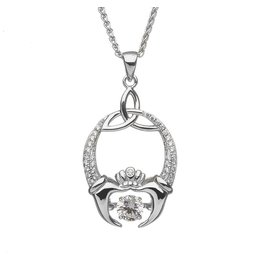 Boru Jewelry Dancing Stone Claddagh & Trinity Necklace