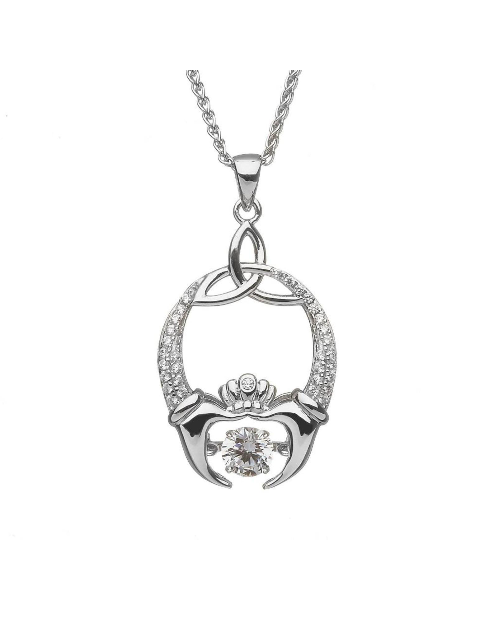 Boru Jewelry Dancing Stone Claddagh &Trinity Necklace