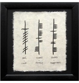 Ogham Wishes Framed Ogham Triple: Love Family Happiness