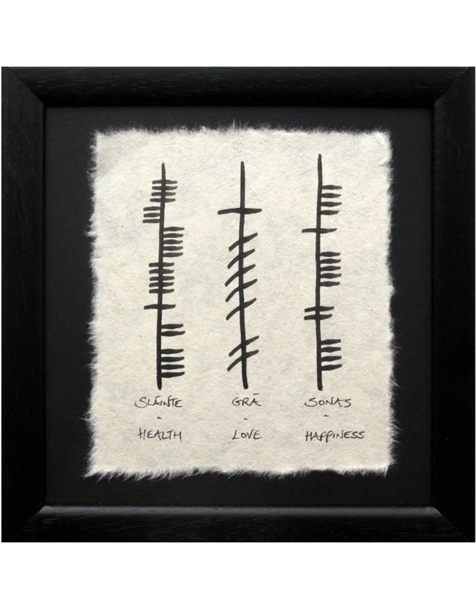 Ogham Wishes Framed Ogham Triple: Health Love Happiness