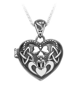 Boru Jewelry Puffed Heart Claddagh Locket