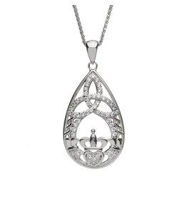 Boru Jewelry Teardrop Claddagh & Trinity Necklace