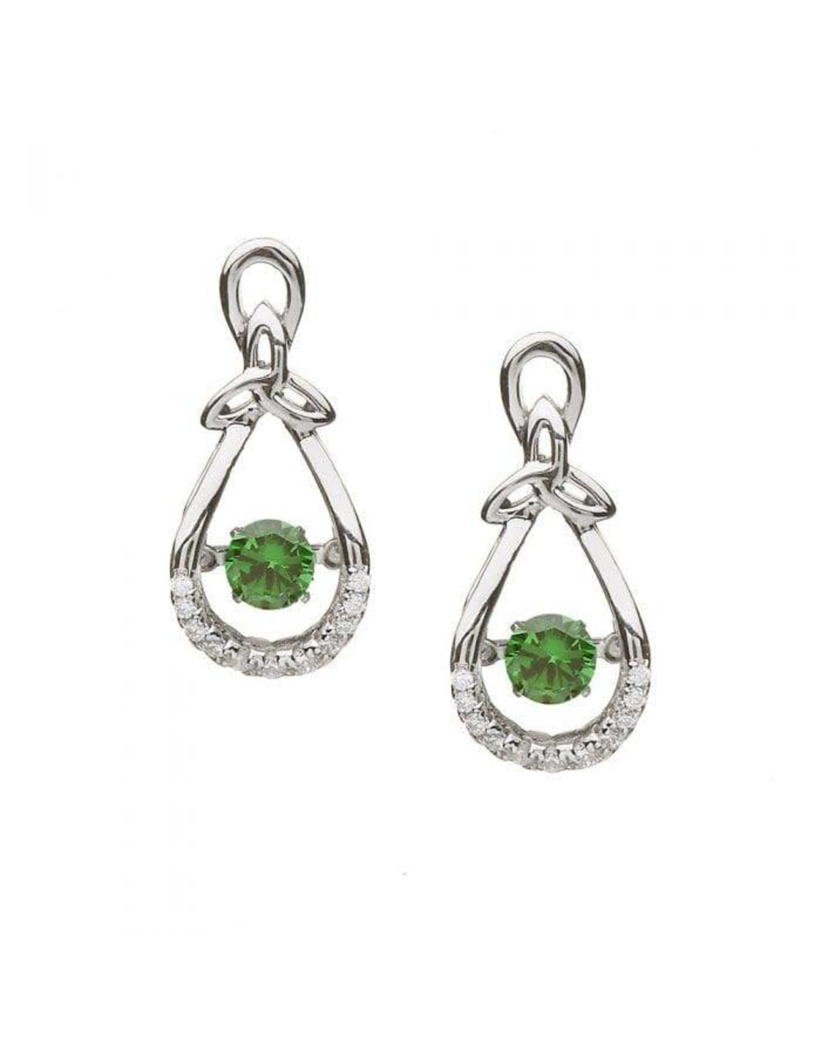 Boru Jewelry Trinity Drop Earrings with Dancing Green Stone