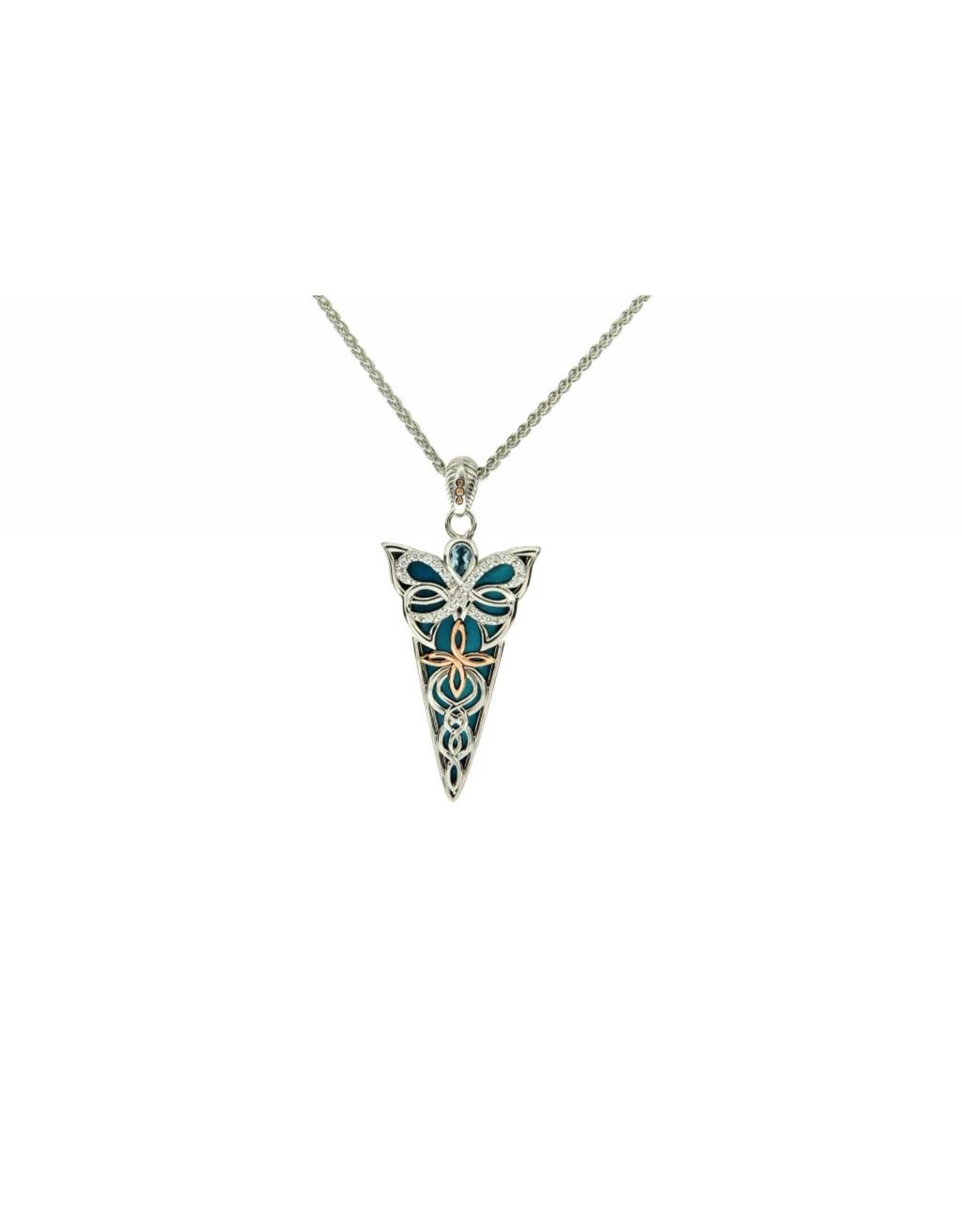 Keith Jack Silver + 10k Rose Gold Enamel Reversible Butterfly Pendant