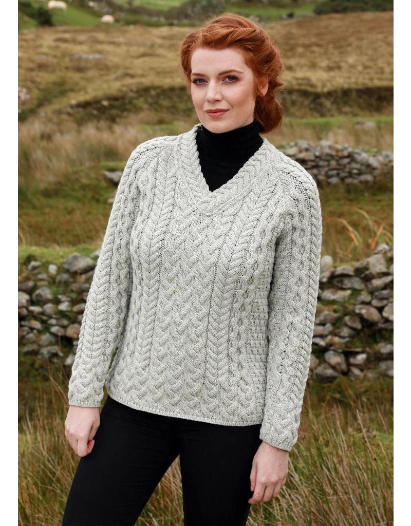 dbfe94559e71 V-neck Fitted Aran Sweater - Celtic Aer Gift Shop