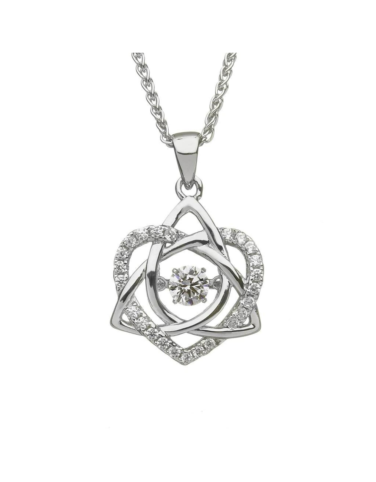 Boru Jewelry SS Dancing Stone Heart/Trinity Necklace