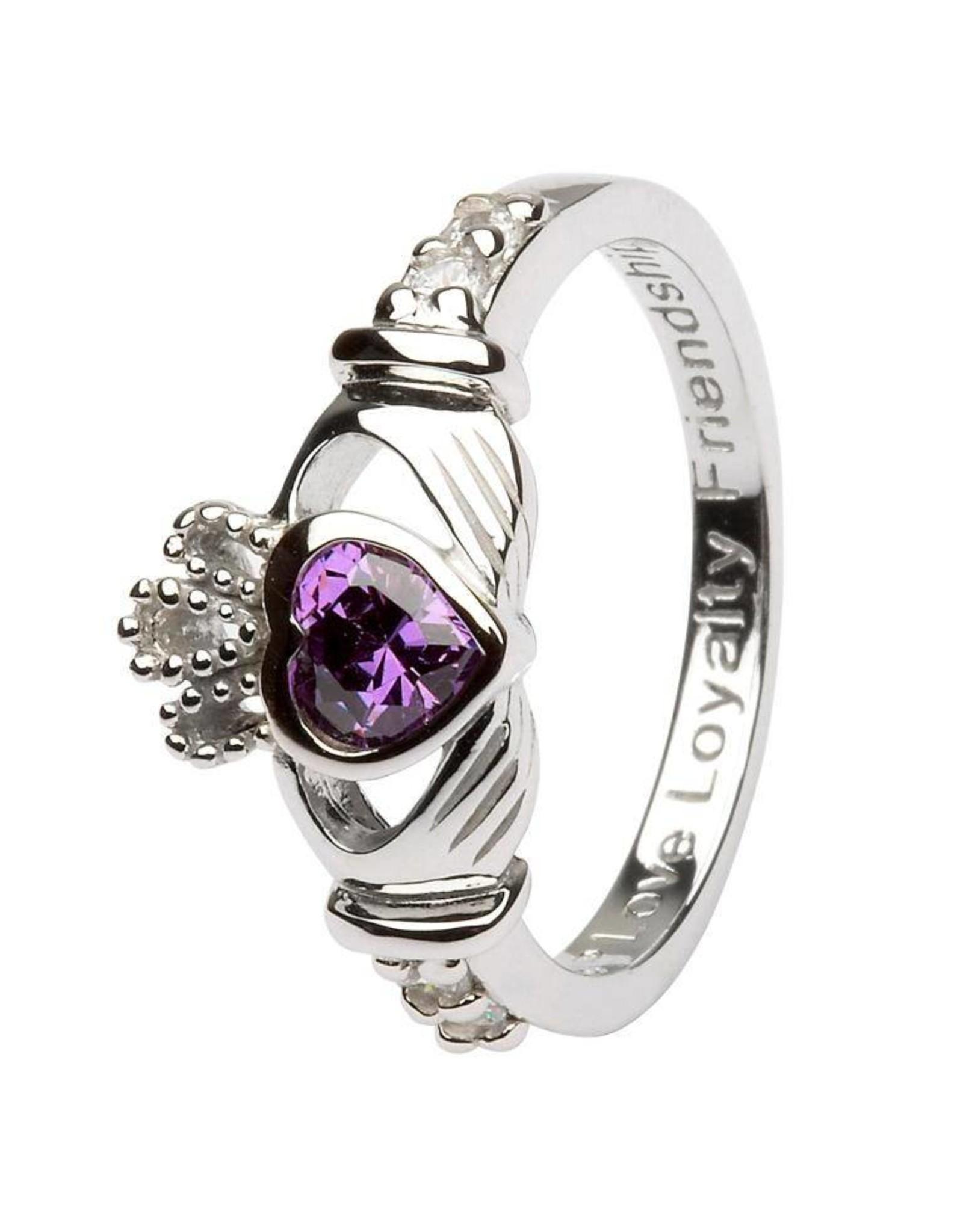 Shanore February Birthstone Claddagh Ring